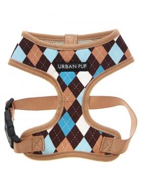 Urban Pup Beige & Blue Argyle Puppy Harness & Lead Set