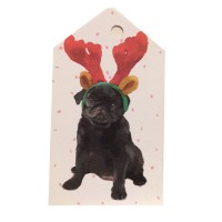Black Puppy Pug Christmas Gift Tags