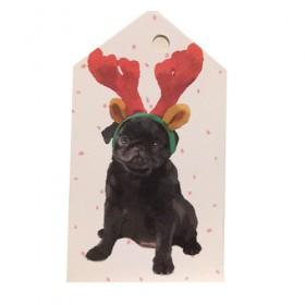 Black Puppy Pug Christmas Gift Tags