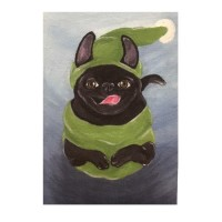 Stunning Painted Effect Black Pug Grinch Christmas Card