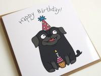Black Pug Cute Birthday Card