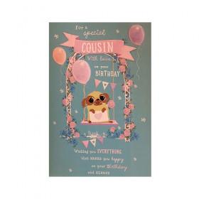 Large Pug Cousin Birthday Card