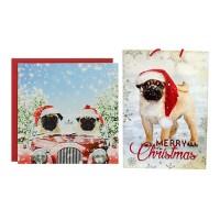Pugs Driving Home For Christmas Gift Wrap Set