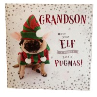 Pug Grandson Elf Christmas Card
