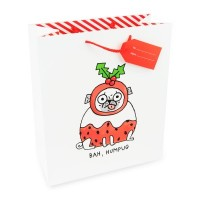 Large Bah Hum Pug Christmas Gift Bag By Gemma Correll