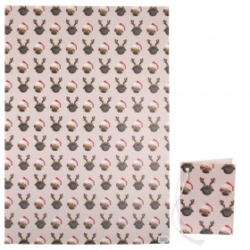 Extra Large Thick Pug Christmas Gift Wrap Sheets