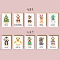 Mini Pug Christmas Cards (Pack of 5)
