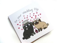 Fancy Dress Pug Wedding Day Card