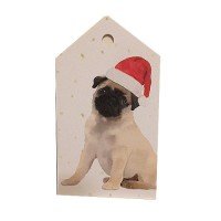 Fawn Puppy Pug Christmas Gift Tags
