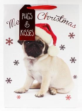 Large Pugs & kisses Puppy Christmas Gift Bag