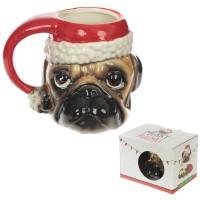 Santa Pug Large Christmas Mug