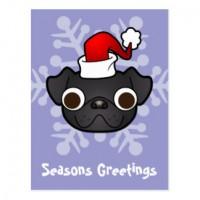 Black Pug Seasons Greetings Postacrd