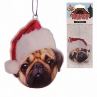 Spiced Apple Pug Christmas Air Freshener