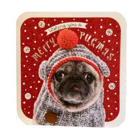 Extra Large Luxury Pug Glittered Christmas Card