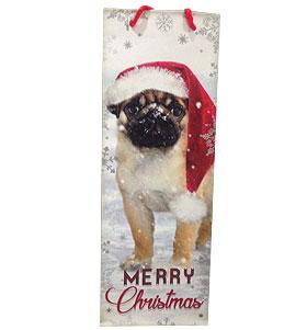 Pug In Snow Christmas Bottle Gift Bag