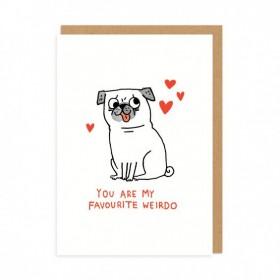 You Are My Favourite Weirdo Pug Card By Gemma Correll