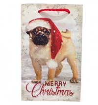Small Pug In Snow Christmas Gift Bag