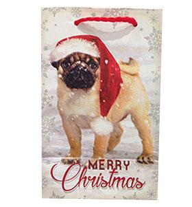 Small Pug In Snow Christmas Gift Bag