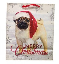 Medium Pug In Snow Christmas Gift Bag