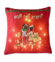 Pugs & kisses  Light Up Christmas Cushion