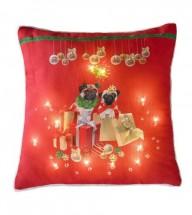 Pugs & kisses  Light Up Christmas Cushion