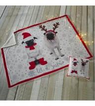 Let It Snow Pug Christmas Double Throw