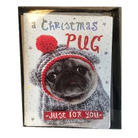 Mini Pug Christmas Cards (Pack of 12)