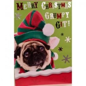 Funny Grumpy Git Pug Christmas Card