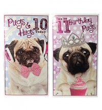 Age Ten & Eleven Pug Birthday Cards