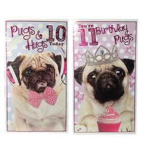 Age Ten Eleven Pug Birthday Cards