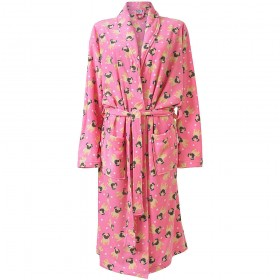 Ladies Fleece Pink Pug Dressing Gown
