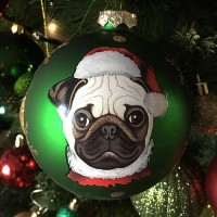 Green Pug Bauble Christmas Decoration