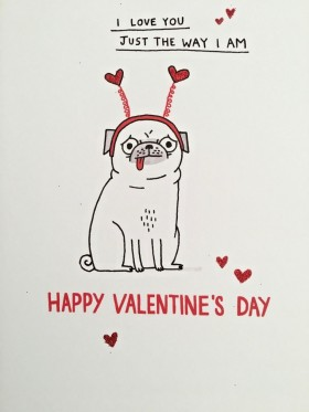 Funny Pug Valentines Day Card By Gemma Correll