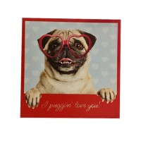 I Puggin Love You Valentines Card