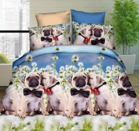 Pug Puppies In Flowers In Flowers Duvet Set Double