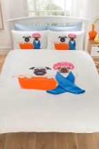 Pug & French Bulldog Bathtime  Double Duvet Set