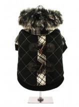 Black & White Tartan Duffle Coat