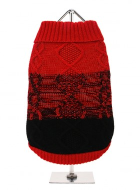 URBAN PUP RED & BLACK DONEGAL  SWEATER