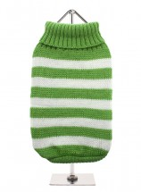 URBAN PUP GREEN & WHITE STRIPED SWEATER