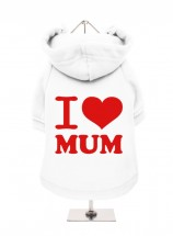 I Love Mum White Fleece Lined Hoodie (Available in 4 colours)