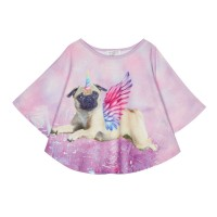 Girls Unicorn Pug Cape Top