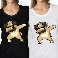 Dabbing Pug Ladies  T-Shirt (Available in 2 colours)