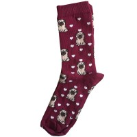 Ladies Pug Patterned Sock One Size