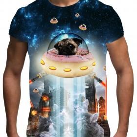 Unisex Doughnut Pug Space T Shirt