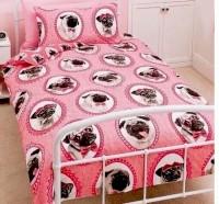 Pink Girls Pug Single Duvet Set