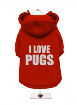 I Love Pugs Fleece Lined Hoodie (Available in 8 colours)