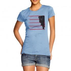 Black Pug Mug Shot Ladies T Shirt (Available in 7 colours)