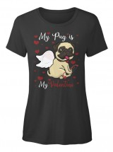 Ladies Valentine Pug T shirt
