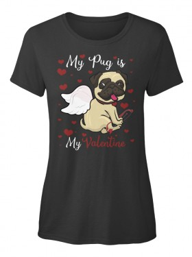 Ladies Valentine Pug T shirt