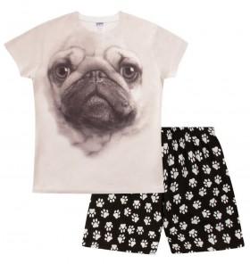 Cute Pug Girls Pj Set